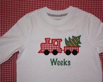 Personalized Applique Christmas Train with Tree  tshirt - Long or Short sleeve