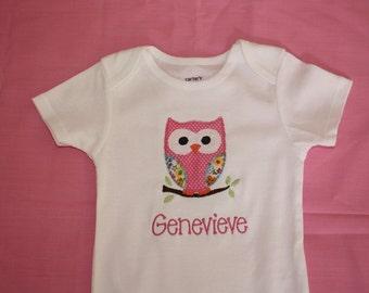 Girls Personalized Owl onesie or tshirt