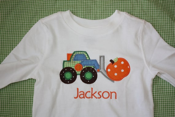 Boys Personalized Applique Fall Front Loader with Pumpkin Long/short sleeve onesie or tshirt