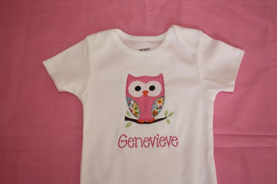 Girls Personalized Owl onesie or tshirt