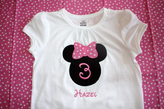 Personalized MInnie Mouse with Birthday Number Onesie or Tshirt