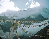 Nepal Relief Fund - Ethereal Mountains and Prayer Flags Photograph - Nepal Himalayas Landscape Photography