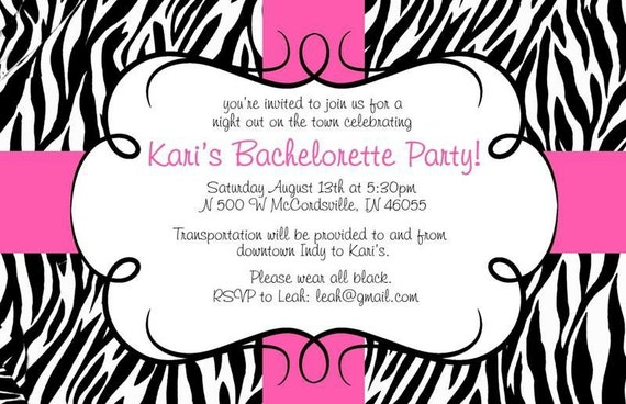 items similar to zebra print invitations on etsy, Birthday invitations