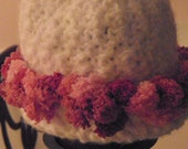Pink and White PomPom Crocheted  Baby Hat by Little Miss Prim