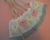 Baby Gift Tags Adorable Blue Pink Yellow and White Baby Handcrafted Set of 5