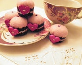Handcrafted Minature Cupcake Pincushions Pink and Purple Set of Six with Fuchsia Heart Buttons