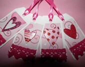 Valentines Tags Set of 4 adorable Sparkling Heart embellished handmade gift tags