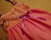 Disney PRINCESS Sun Dress with ribbon ties and pink buttons in Pinks Size 3t by Little Miss Prim