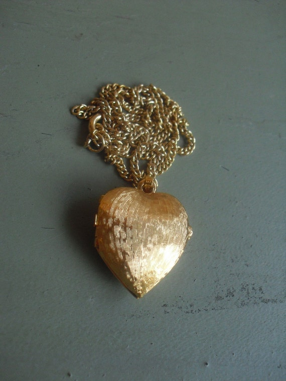 Vintage Puffy Gold Heart Locket by Monet