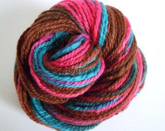 REDUCED PRICE! Brown Pink Green Merino Handspun Hand Dyed Yarn 122g
