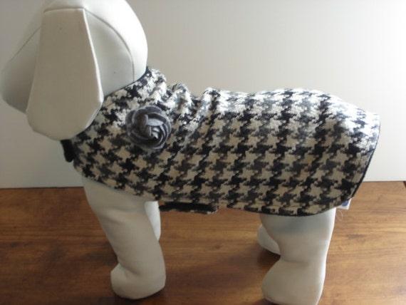 Grey Houndstooth Coat with Grey Rose Bud Sizes Xsmall, Small & Medium