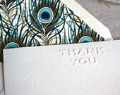 Thank you notecard set with peacock feather lined envelopes
