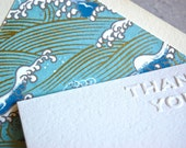 Thank you notecard set with blue wave lined envelopes