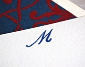 Monogram notecard set with red and navy flocked paper lined envelopes