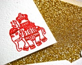 Indian elephant notecard set with gold glitter lined envelopes