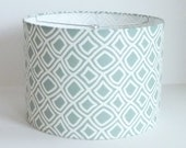 Drum lamp shade in pale aqua diamond geometric fabric