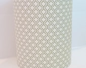 Mid-century Modern drum lampshade in Geometric Leaf, R. Kaufman, Metro Living fabric