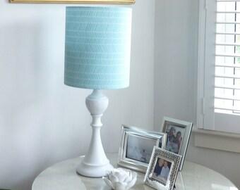 Tall Drum lampshade in aqua geometric herringbone modern fabric