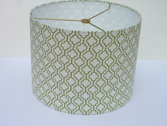"Custom, modern 12"" drum lampshade in Geometric Leaf, R. Kaufman, Metro Living fabric"
