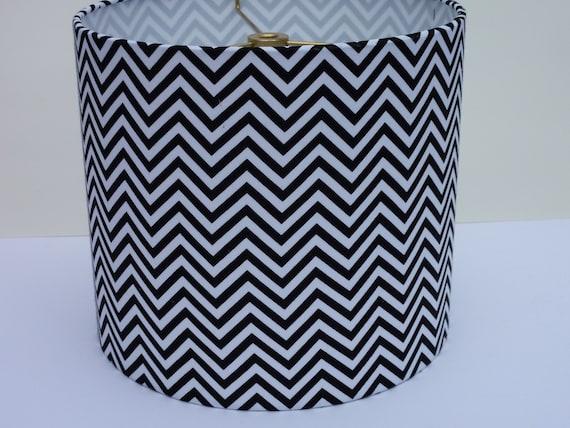 Drum Lampshade in black and white zigzag/ chevron fabric