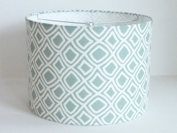 large drum lamp shade in pale aqua diamond by lampshadedesigns. Black Bedroom Furniture Sets. Home Design Ideas