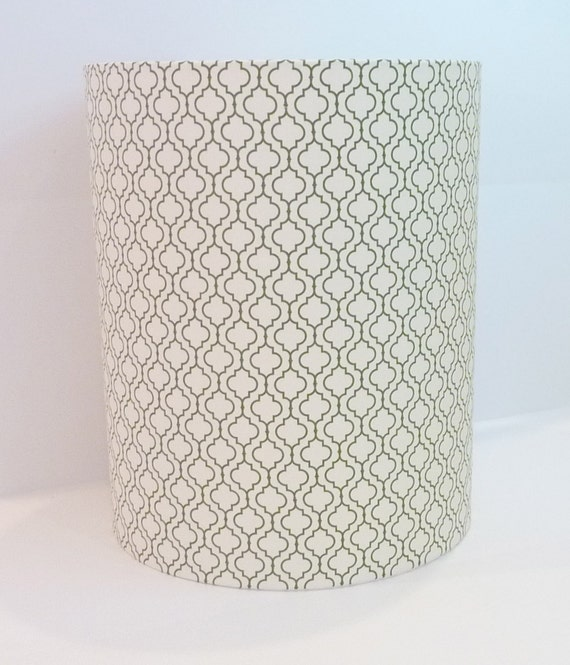 Mid-century Modern drum lampshade in Geometric Leaf, R. Kaufman, Metro Living fabric