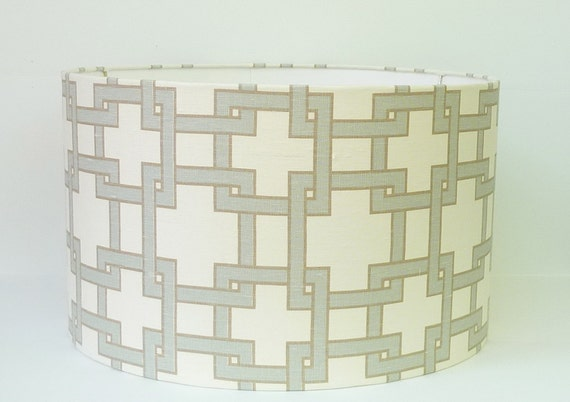 "Reserved for Margaret Pair of  14"" X 9.5"" drum shades in Thom Filicia City Square Misty Morn"
