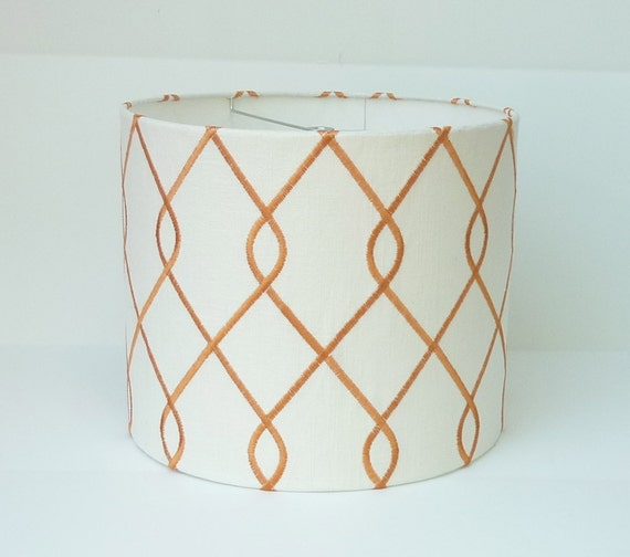 drum lamp shade in linen with orange geometric embroidered. Black Bedroom Furniture Sets. Home Design Ideas
