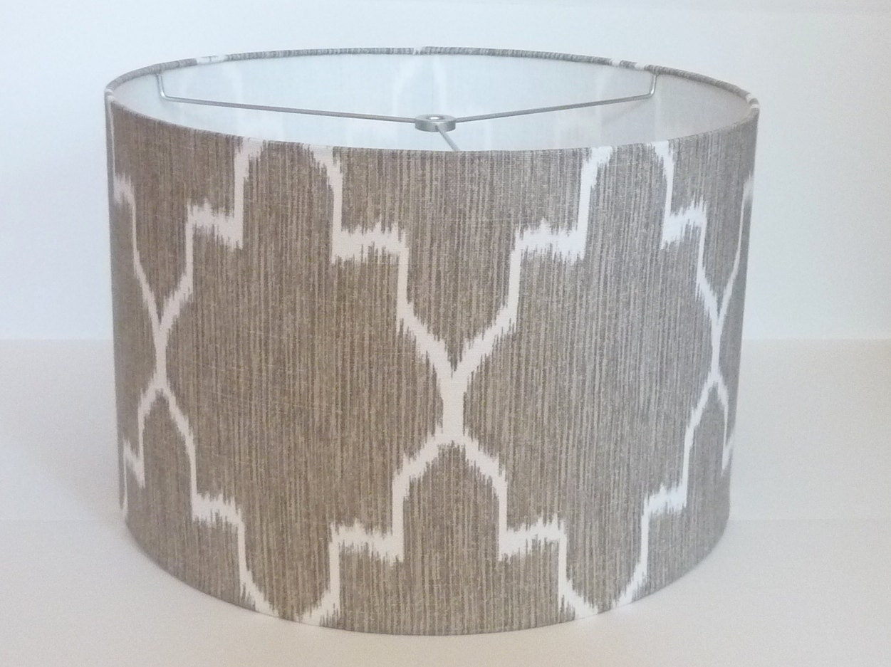small drum lamp shade in ikat geometric grey by. Black Bedroom Furniture Sets. Home Design Ideas