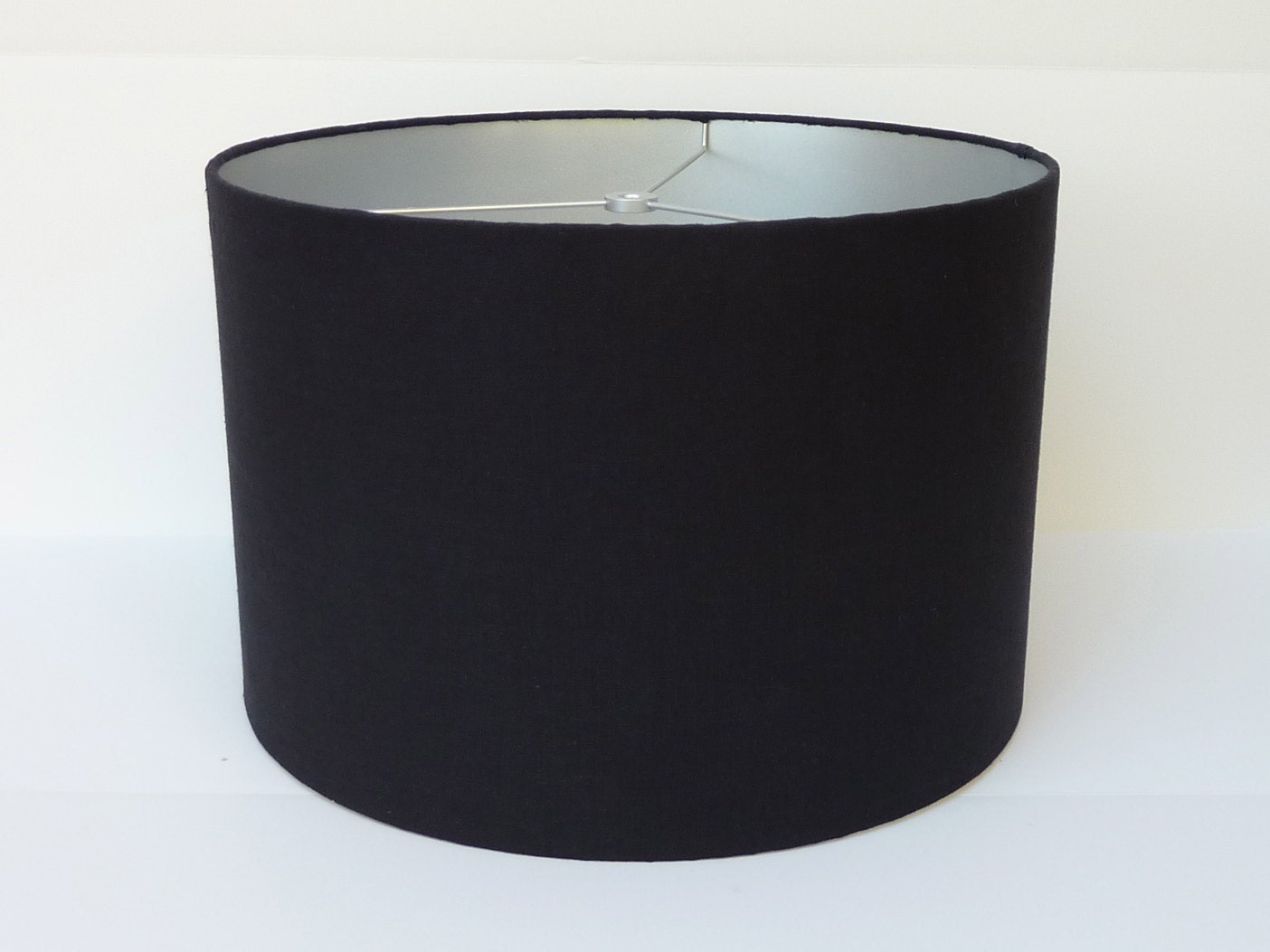 drum lamp shade in black linen fabric with by lampshadedesigns. Black Bedroom Furniture Sets. Home Design Ideas