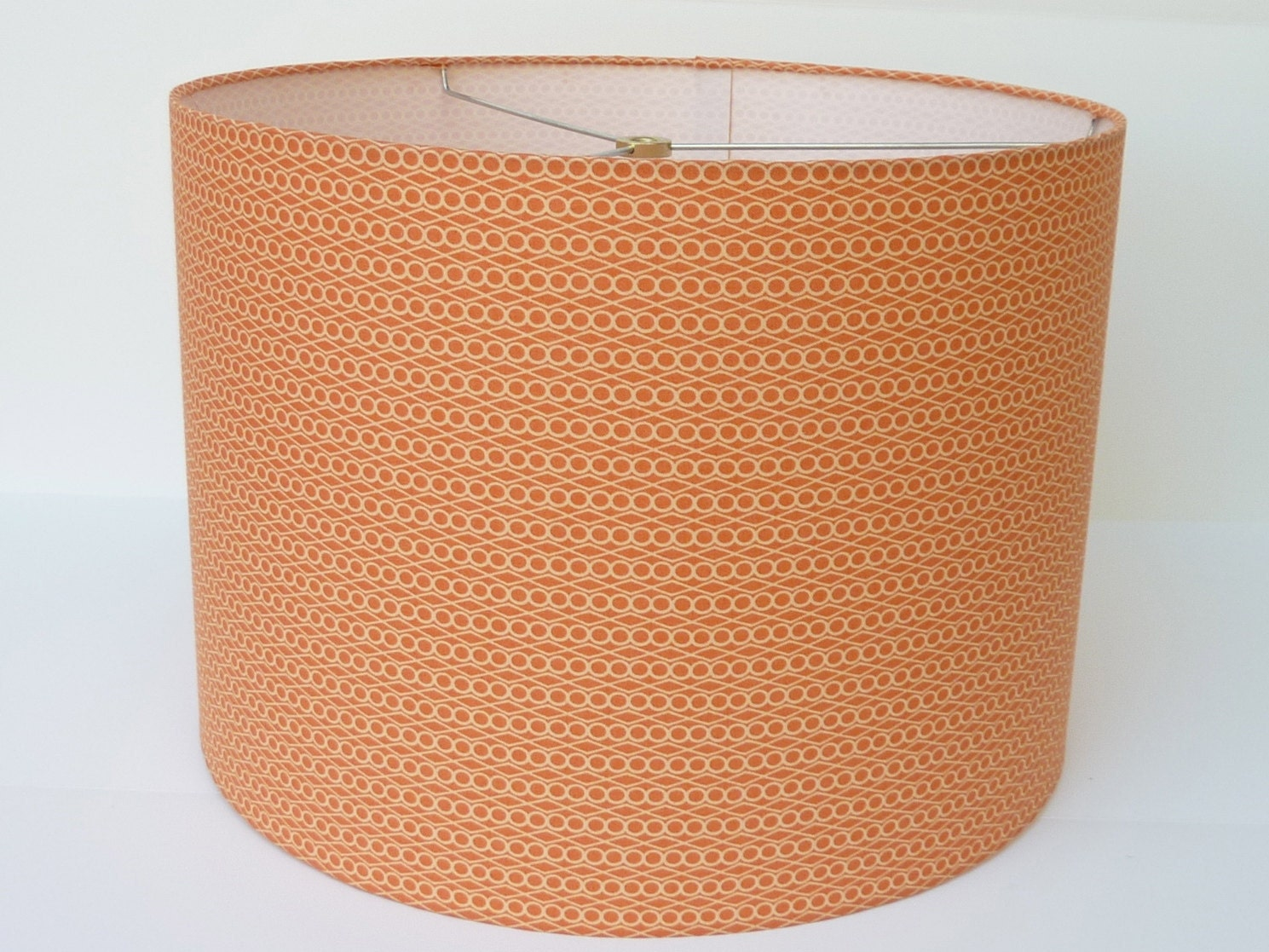 medium drum lamp shade in soft orange geometric fabric. Black Bedroom Furniture Sets. Home Design Ideas