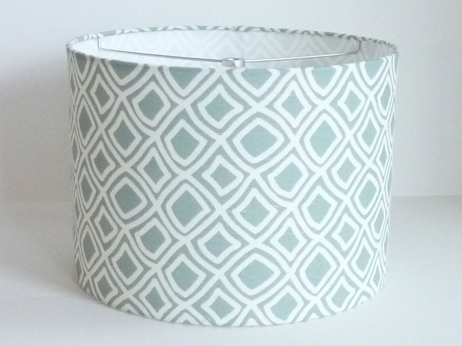 drum lamp shade in pale aqua diamond geometric by lampshadedesigns. Black Bedroom Furniture Sets. Home Design Ideas