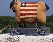 PRIMITIVE PATRIOTIC SHEEP pull toy tea dyed muslin country red white blue