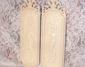 Angelic wall plaques Ivory Shabby Chic Syroco Wall Plaques vintage home decor wedding decor
