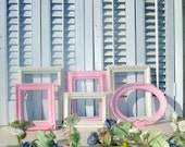 Reserved for Everlee 2009Frame Grouping Wall Art  Pink White Girly Girl Shabby Chic Cottage Chic  French Country  Romantic