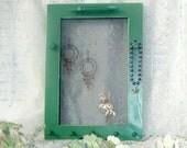 jewelry frame soft green framed jewelry holder earrings necklaces bracelets organizer peg rack