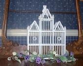 Shabby chic wedding wooden  bird cage  romantic large heirloom white  decorative
