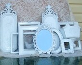 Frame Wall Grouping eclectic shabby chippy white Weddings  Romantic French Country Victorian  Shabby Chic Cottage Vintage 11 piece
