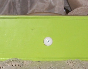 coat rack, white knobs,  key lime, hand rubbed  Price reduced 20 percent