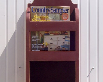 Magazine rack  mail  rack  shabby chic country  olde barn red wooden cabin ready shelf