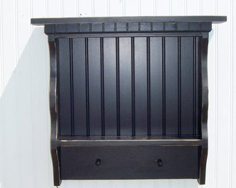 WOODEN WALL SHELF Shabby Country Paris Apartment Dental Molding Beadboard Back Black