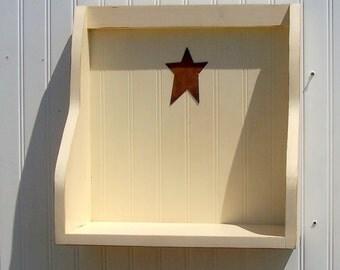 country chic cookbook shelf buttermilk wooden shelf  primitive rusty star