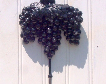 grape key rack, cottage chic, ebony, rescued, upcycled, kitchen REDUCED 20%
