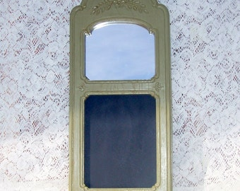 Vintage chalkboard mirror shabby chic upcycled Homco old pewter country chic autumn color combo