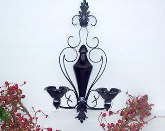 Black sconce double shabby chic romantic wedding decor upcycled vintage wire and wood