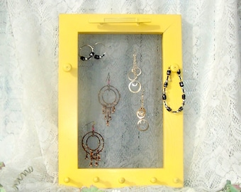 jewelry wall hanger wooden jewelry hanger jewelry organizer yellow jewelry rack home decor earring rack