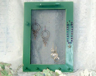 jewelry frame soft green framed jewelry holder earrings necklaces bracelets organizer peg rack