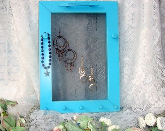 jewelry frame aqua framed jewelry holder earrings necklaces bracelets organizer peg rack