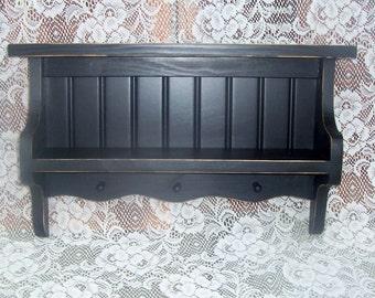 shelf, primitive, rustic, pegs, handmade, black, beadboard