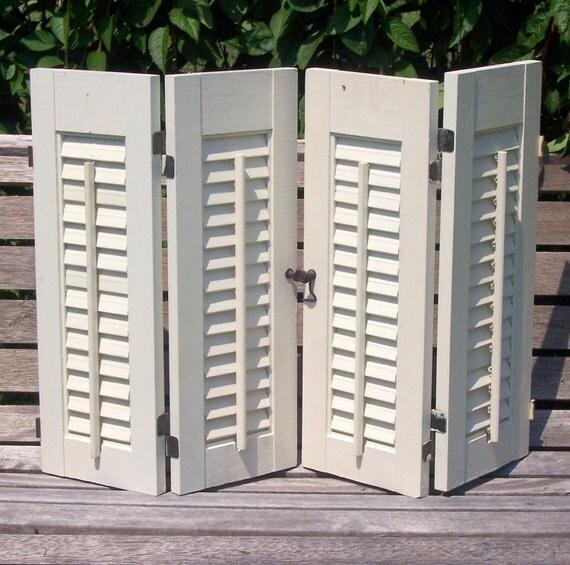 SHUTTERS SHABBY CHIC rustic vintage antique white window-ready beachy french country seaside farmstead